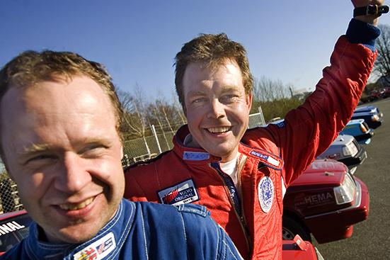 080419 Andra raka segern för Kristianstads Anders Strömbeck, för dagen med ny co-driver Morgan Sandberg längst fram. Bild. Tommy Svensson