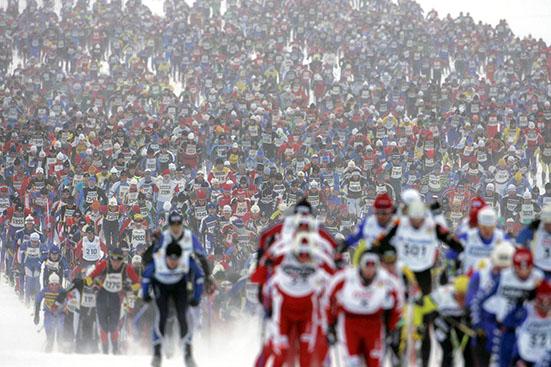 BERGA BY 20060305 15000 Âkare l‰mnar starten fˆr Vasaloppet 2006 i Berga By.Foto: Ulf Palm / SCANPIX Code 9110