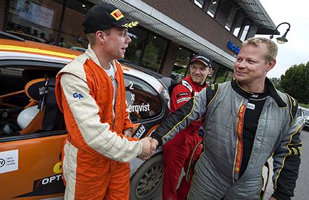 Hässsleholms Johan Green till höger slutade fyra i AM Snapphanerally och grautlerar vinnaren Tobias Söderquist
