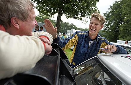 Vinnaren av AM Snapphanerally PG Andersson har kul med tvåan Mats jonsson
