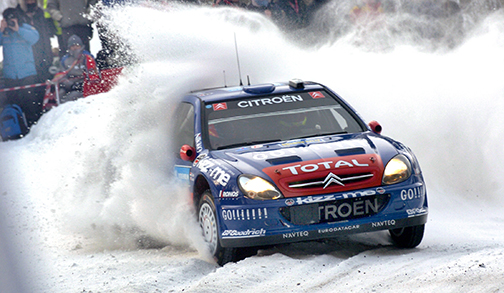 060205 Tvåan i Svenska Rallyt, fransmannen Sebastien Loeb vräker fram sin Citroén i jakten på Grönholm. Bild: Tommy Svensson