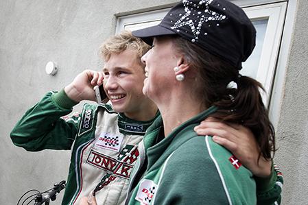 EM i Karting, Kristianstad karting Klubb Åsum ring. Europamästaren Christian Lundgaard med mamma Lotte