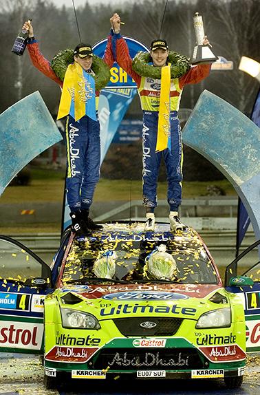 080210 Jari-Matti Latvala blev den yngste att vinna en VM-tävling när han vann Uddeholm Swedish Rally tillsammans med co-driver Mika Anttila. Bild: Tommy Svensson