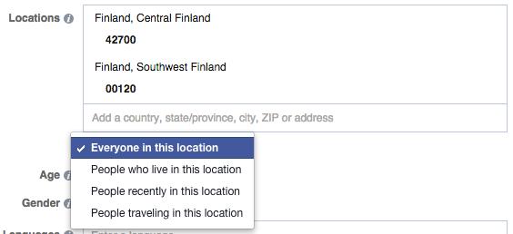 Facebook mainonta - postinumerolla kohdistaminen