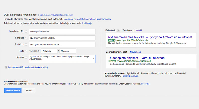 Google AdWordsin laajennetut tekstimainokset
