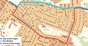 Karta som illustrerar förändringen av linje 58.
