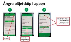 Bild som beskriver hur du ångrar biljettköp i appen. Klicka på bilden för att se den i större format.
