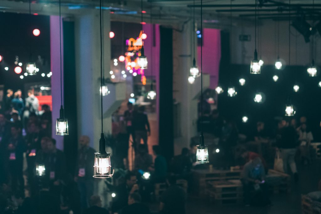 lights hanging from the ceiling at a slush event