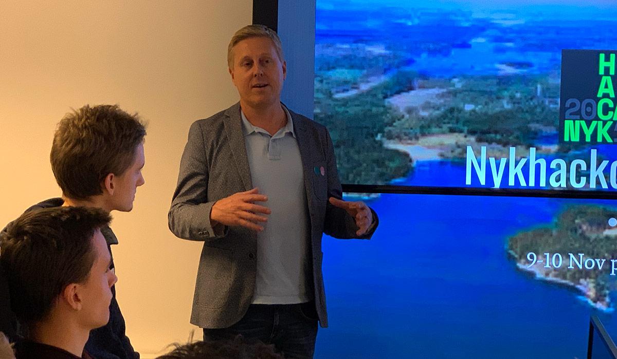Philip Saltskog, vd på Tankbar, berättar om Hack Camp Nyköping.