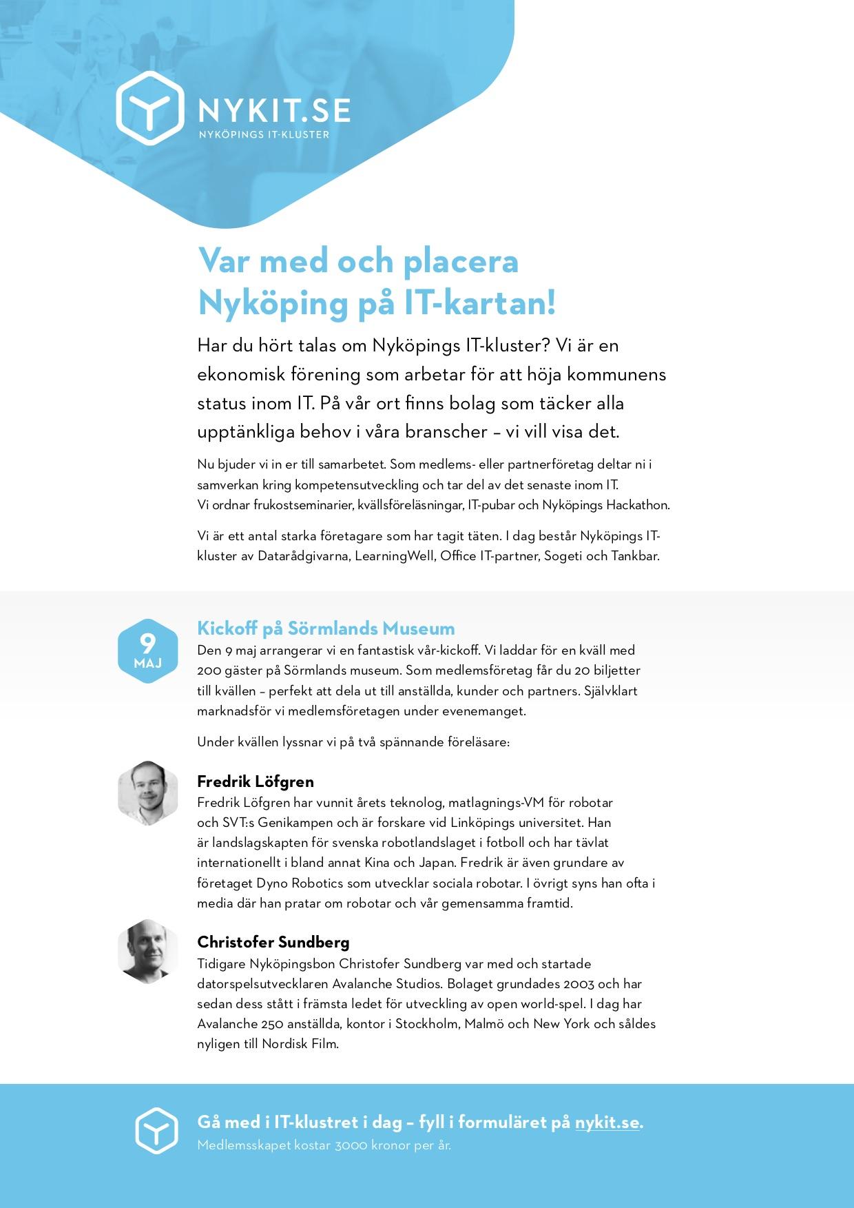 IT-klustret Nyköping bjuder in till kick-off