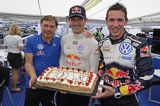 Julien Ingrassia (F), Jost Capito, Sébastien Ogier (F) Cake for 100 WRC starts WRC Rally Mexico 2016