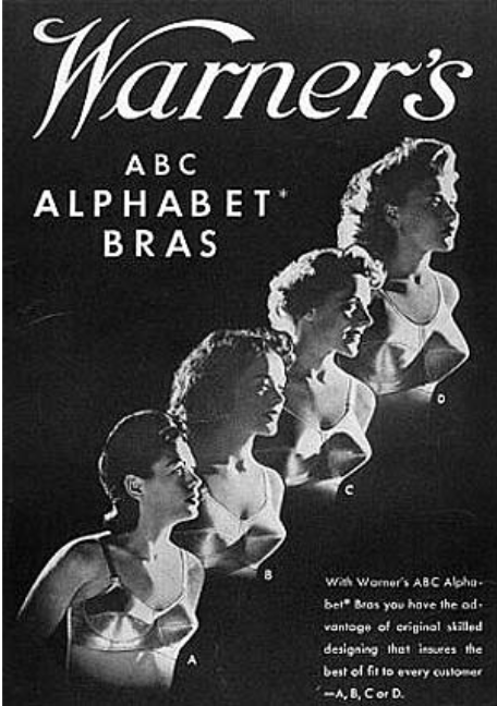 A 1994 advertisement by The Warner Brother's Co., showing four women wearing four different size bras, according to the ABCD sizing of bra cups.