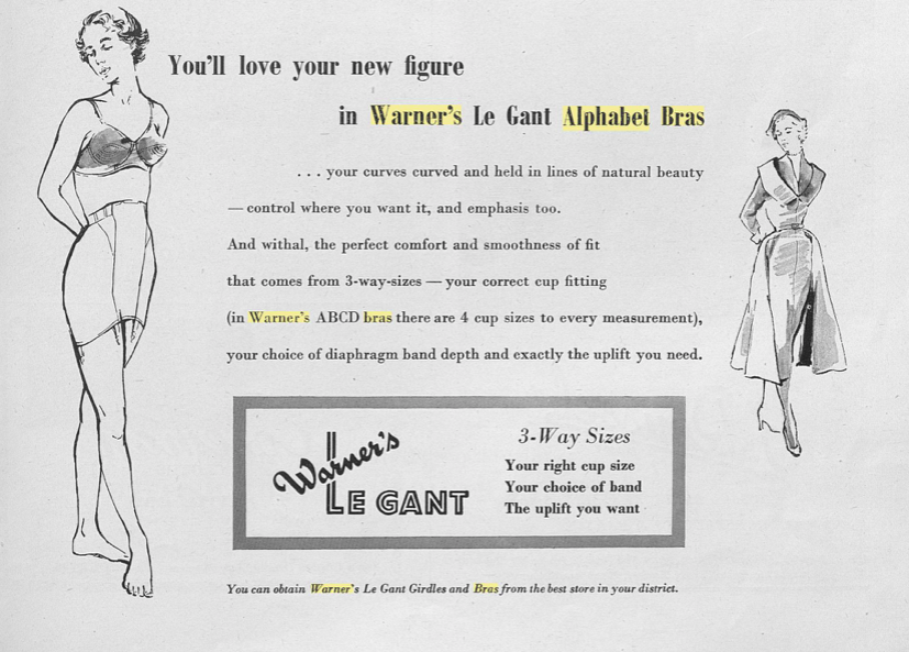 A 1949 advertisement in Harper's Bazaar, depicting a sketch of a woman standing in her bra and underwear, and another sketch of her fully dressed.