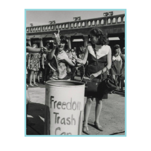 Women throwing feminine objects in a Freedom Trash Can in 1968