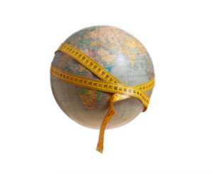 globe with a measuring tape wrapped around it