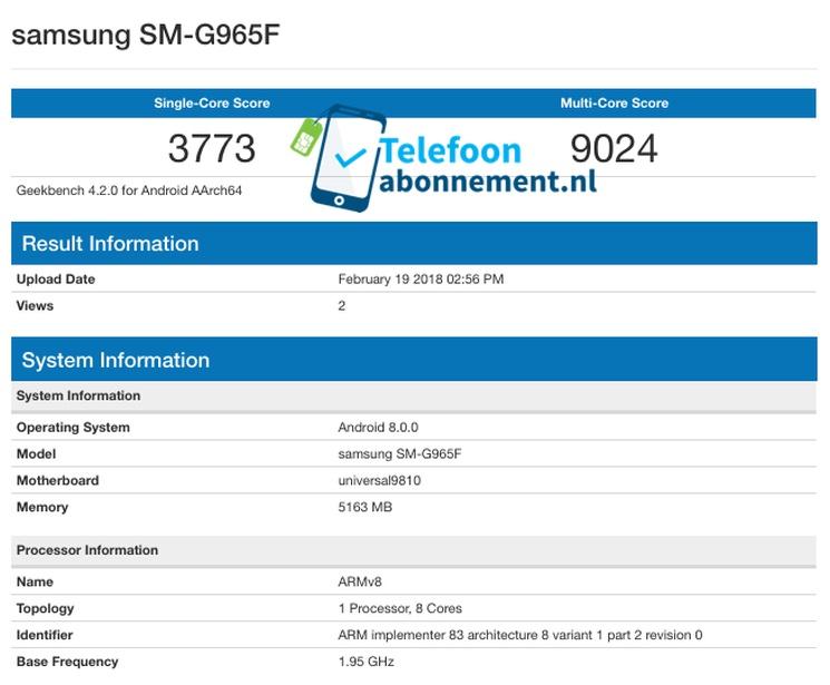 Samsung Galaxy S9+ на Exynos 9810 в Geekbench