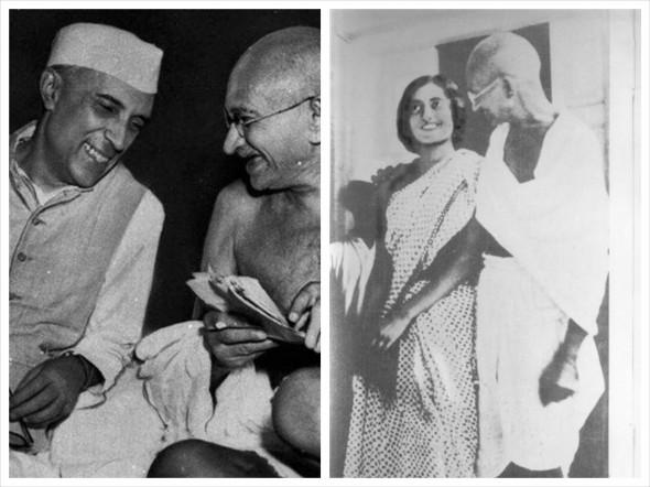 На фото слева Ганди с Джавархарлалом Неру, справа - с Индирой Ганди