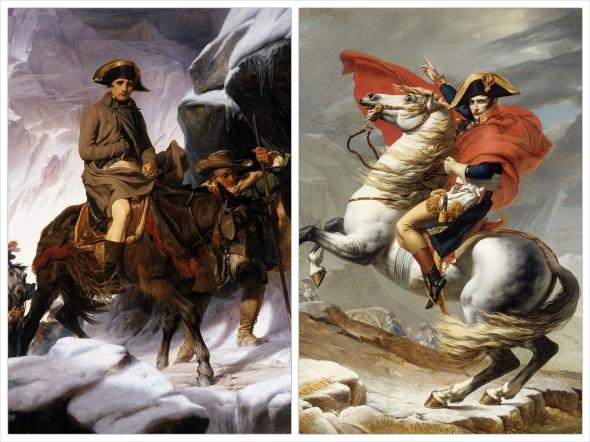 Картина Жака Луи Картина Поля Делароша «Наполеон пересекает Альпы» (слева), картина Давида «Наполеон на перевале Сен-Бернар» (справа)