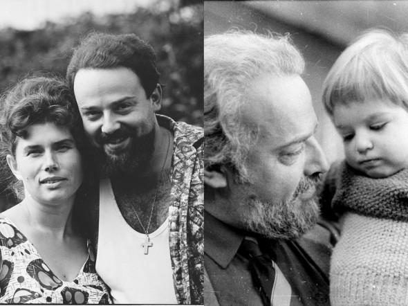Слева Александр Мень с женой Натальей в 1967 году, справа — с внуком Сашей в 1987 году