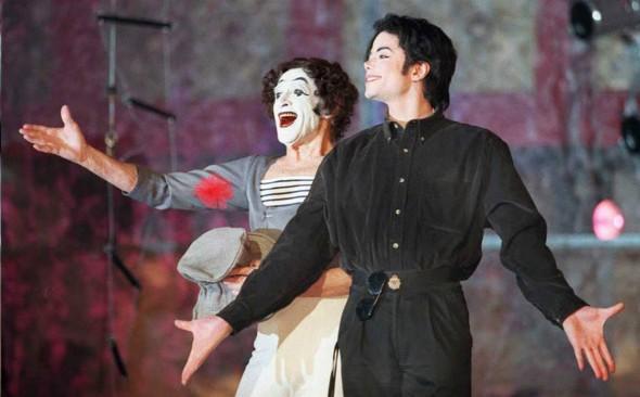 Майкл Джексон и Марсель Марсо во время репетиции в Нью-Йорке 4 декабря 1995 года