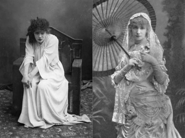 """Сара Бернар в роли Макбет (слева), в роли Маргариты Готье в """"Даме с камелиями"""""""