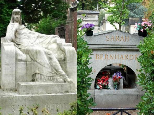 Памятник Саре Бернар в образе Федры (скульптор Франсуа-Леон Сикард) на площади Катру в Париже, могила Сары Бернар на кладбище Пер-Лашез