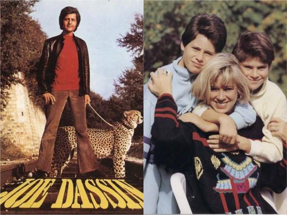 Слева - обложка альбома Джо Дассена La Fleur Aux Dents 1970 года, справа - его вторая жена Кристин с сыновьями