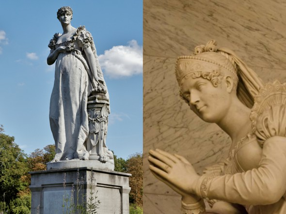 Слева — памятник Жозефине в парке Буа-Прё, слева — надгробие на могиле Жозефины в Мальмезоне