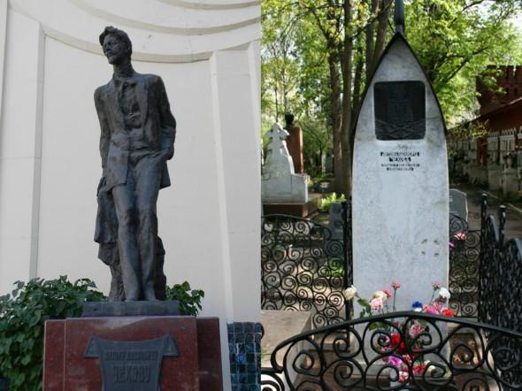 Памятник Чехову в Москве в Камергерском переулке, могила Чехова на Новодевичьем кладбище