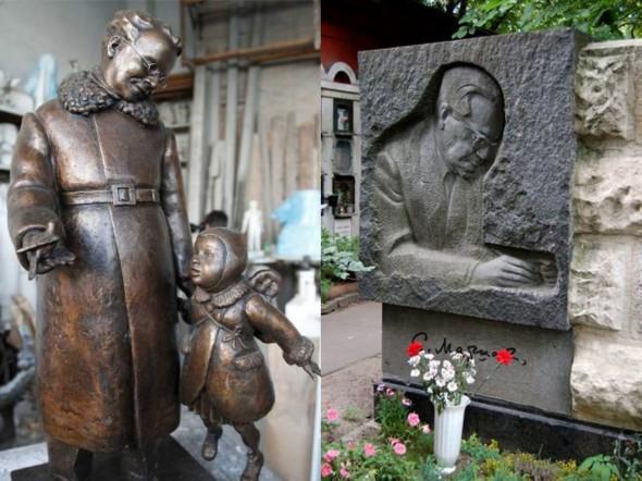 Проект памятника Маршаку в Воронеже скульптора Максима Дикунова, могила Маршака на Новодевичьем кладбище