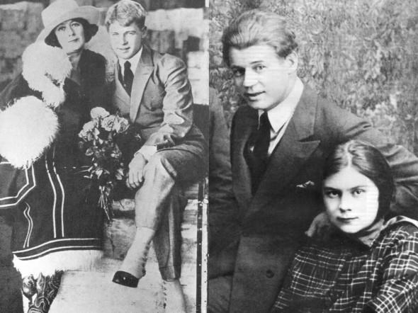 Сергей Есенин с Айседорой Дункан (слева) и с Софьей Толстой (справа)