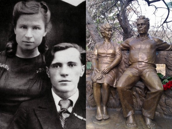 Виктор Астафьев с супругой Марией Семякиной, памятник супругам Астафьевым в Овсянке