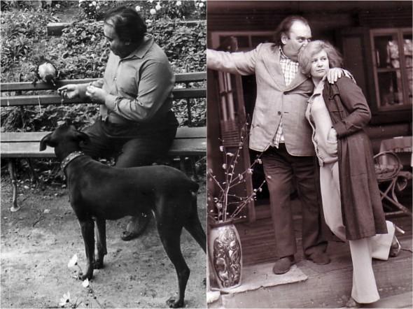 Борис Заходер в Комаровке с псом Даром и женой Галиной