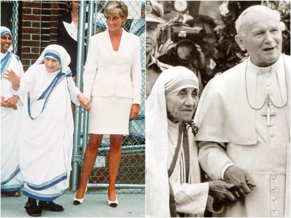 Мать Тереза с принцессой Дианой (слева) и Папой Иоанном Павлом II (справа)