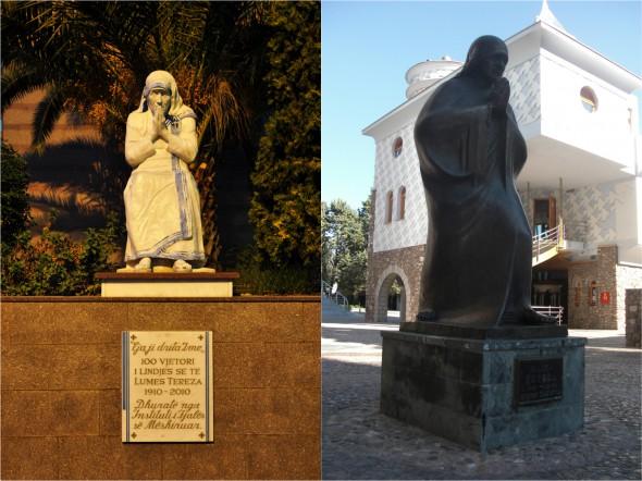 Памятники Матери Терезе — возле собора святого Павла в Тирине (слева) и около дома-мемориала в Скопье