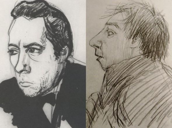 Портреты Хлебникова авторства Владимира Маяковского (слева) и Петра Митурича (справа)