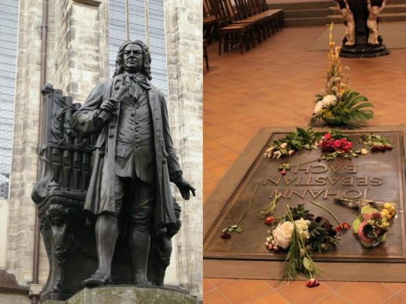 Памятник Баху в Лейпциге и могила Баха в церкви Святого Фомы