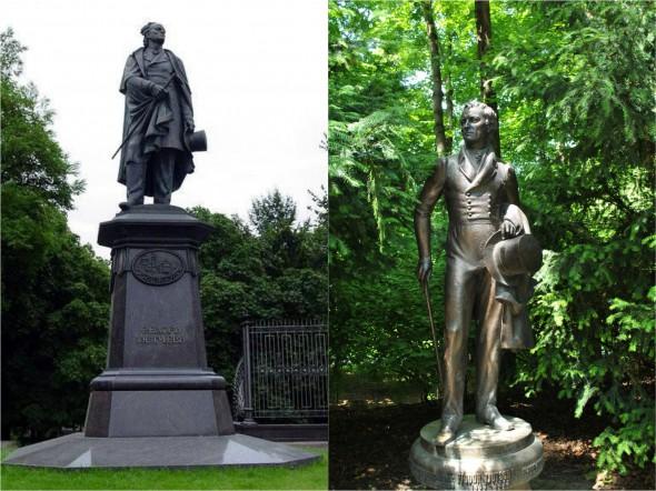 Памятники Тютчеву в Брянске (слева) и в Мюнхене (справа)