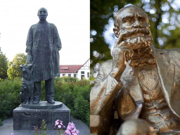Памятники Павлову перед Институтом физиологии в Санкт-Петербурге (слева) и в Киеве  (справа)
