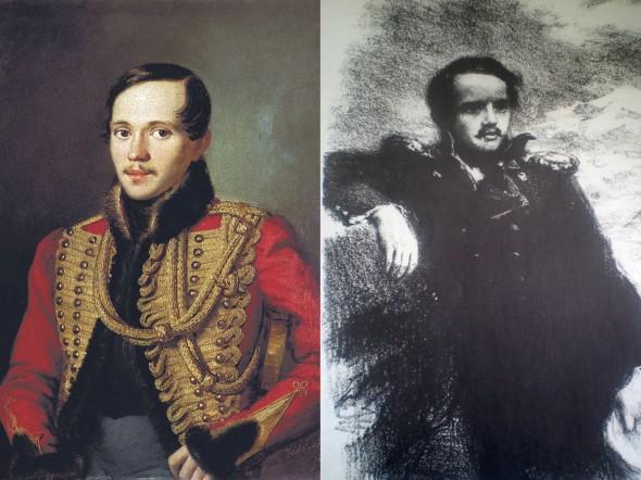 Портреты Лермонтова авторства П. Заболотского (1837г.) и А. Пруцких (1941 г.)