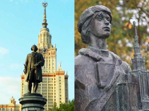 Памятники Ломоносову в Москве (слева) и в Марбурге (справа)