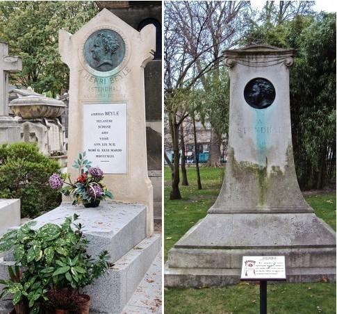 Могила Стендаля на Монмартрском кладбище (слева); памятник Стендалю в Люксембургском саду в Париже (справа)