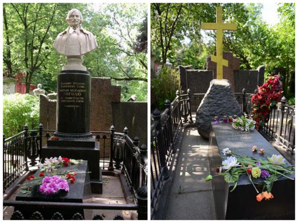 Памятник, установленный на могиле Гоголя в 1952 г. (слева); первоначальный вид памятника на могиле Гоголя, восстановленный в 2002 г. (справа)