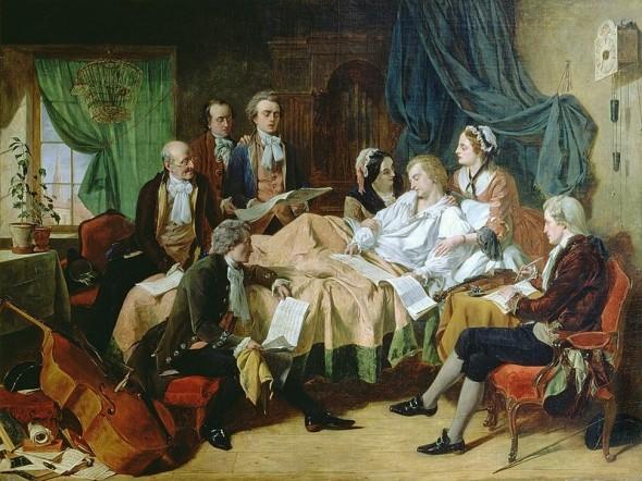 В процессе болезни у Моцарта так сильно отекли конечности, что он практически не мог двигаться