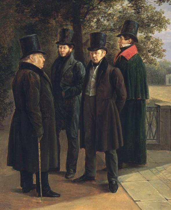 Крылов (слева), Пушкин, Жуковский и Гнедич в Летнем саду (репродукция картины Григория Чернецова)