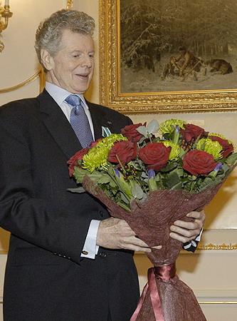 Ван Клиберн на вручении ему ордена Дружбы в Москве в 2004 г.