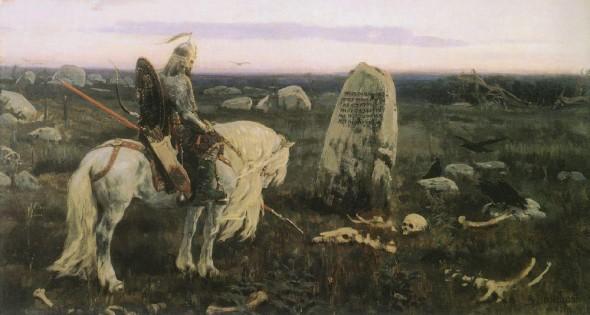 Символическое изображение витязя на распутье украшает нагробный памятник Васнецова