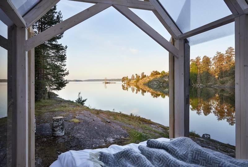 View from inside a glass cabin at Henriksholm, West Sweden