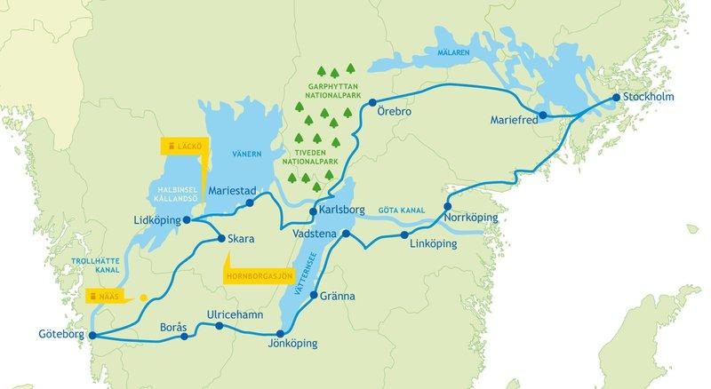 Karte dieser Rundreise quer durch Schweden